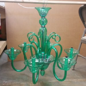 Chandelier being prepped for shipping